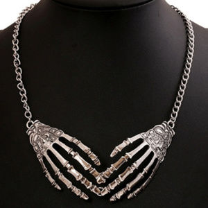 4 PK Day Of The Dead Skeleton Hand Retro Necklace